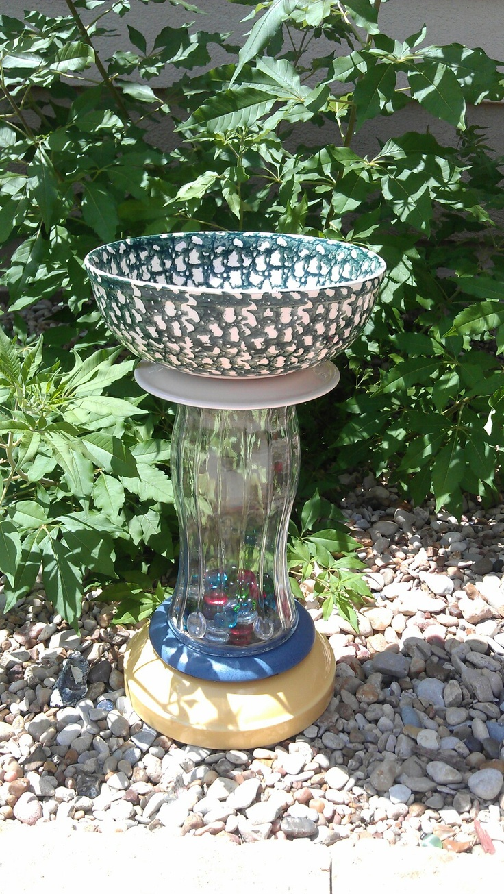 Recycled glass bird bath garden yard art pinterest for Recycled glass projects