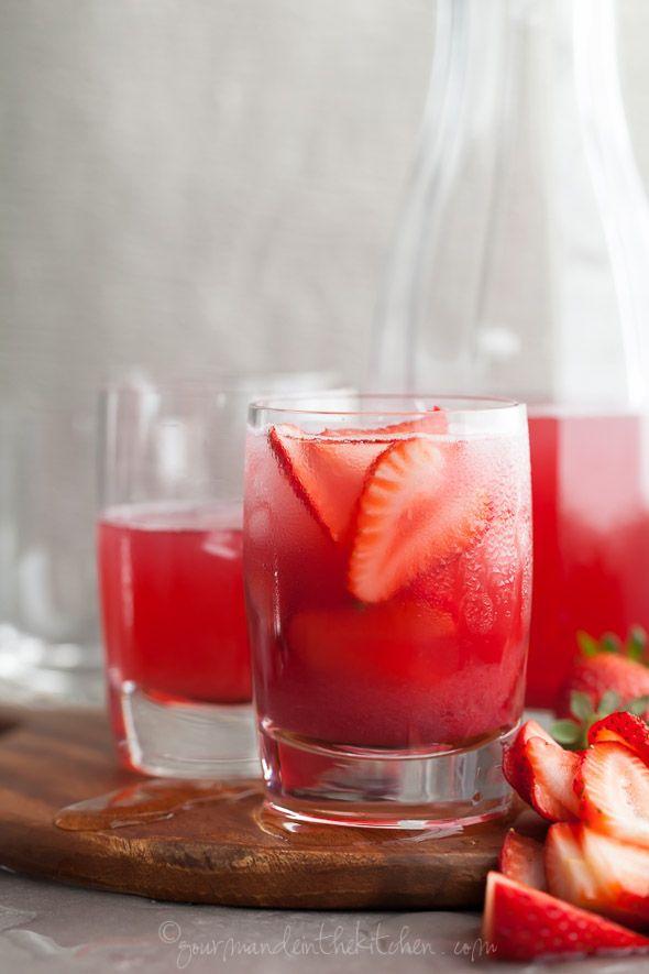 Hibiscus Strawberry Rhubarb Iced Tea Recipe gourmandeinthekitchen.com