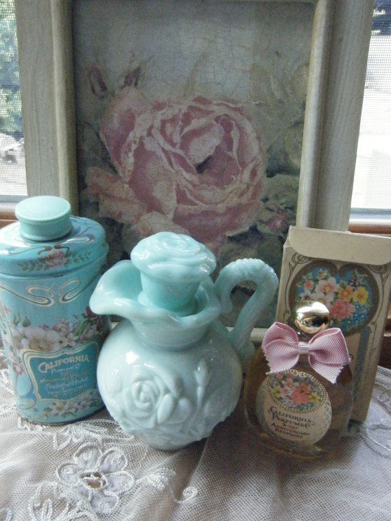 Aqua Shabby Chic Vignette Containing vintage Avon by gammiannes, $32.00