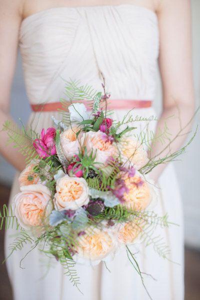 Peach Garden Roses Wedding Bouquet Bouquets Pinterest