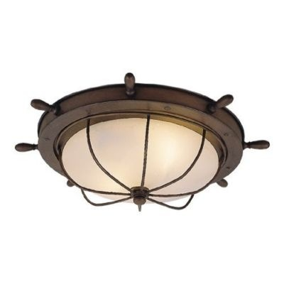new 2 light nautical flush mount ceiling lighting fixture copper bro. Black Bedroom Furniture Sets. Home Design Ideas