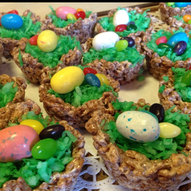 Edible easter baskets cocoa krispies coconut flakes with green food