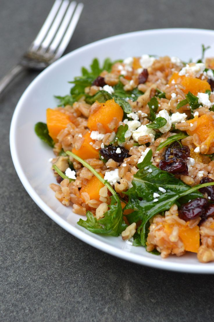 Roasted Butternut Squash Farro Salad with Cider Vinaigrette