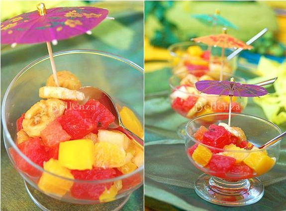 Fresh fruit cups as a refreshing summer wedding appetizer or dessert