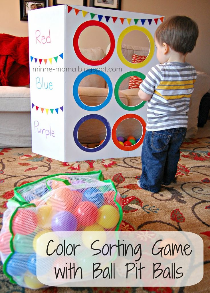 Minne-Mama: Color Sorting Toss Activity (with Video!) - Use ball pit balls or bean bags.