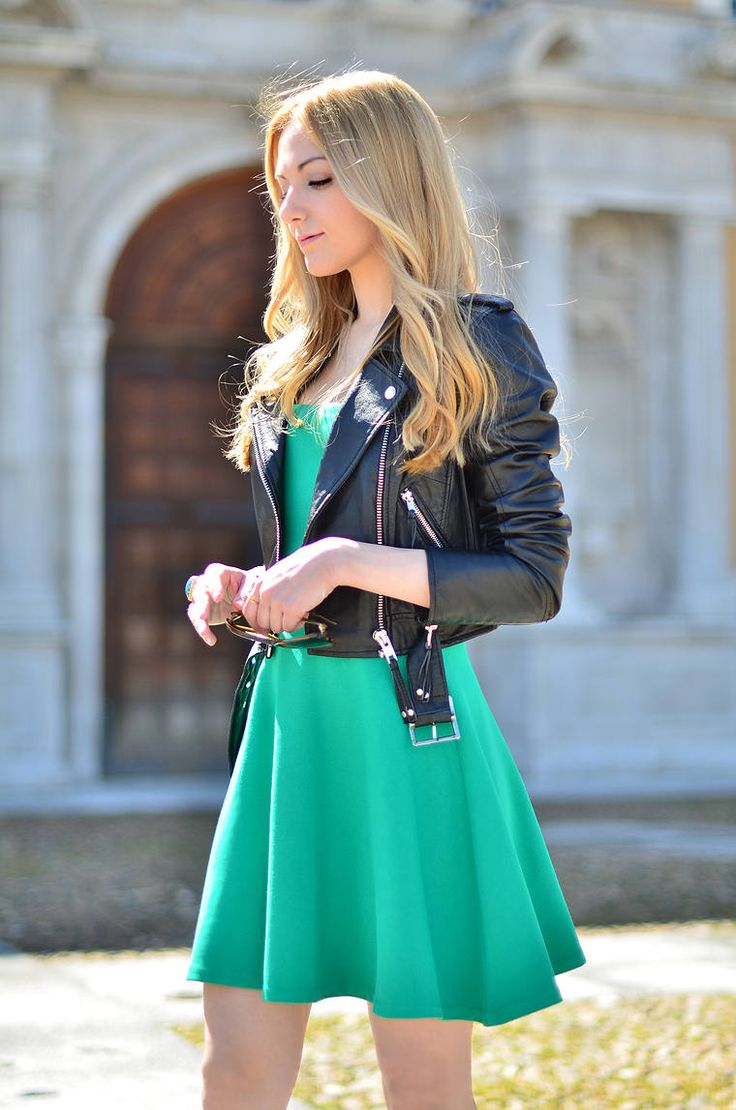 Mini skirt with leather jacket