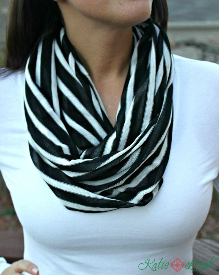 black and white stripe infinity scarf