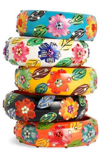 Painted Flower Bangles by Cara Accessories