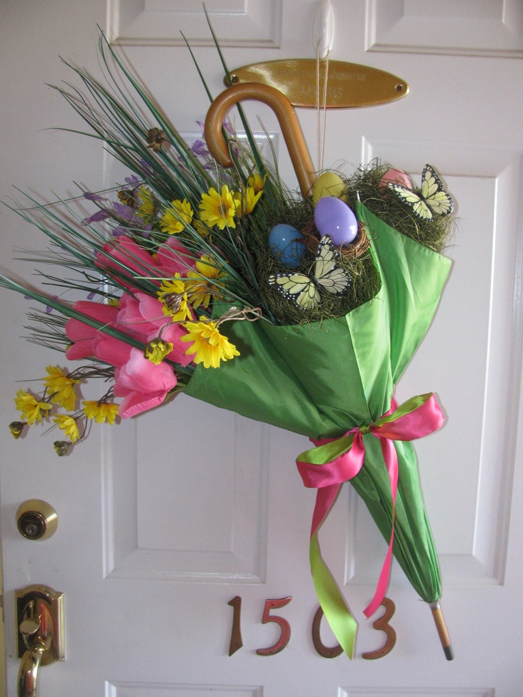 Spring easter front door decor wreaths n door crafts for Baby shower front door decoration ideas