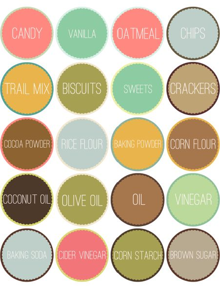 Free Round Pantry Labels with type and/or blank for download. Amazing designs by Catherine Auger