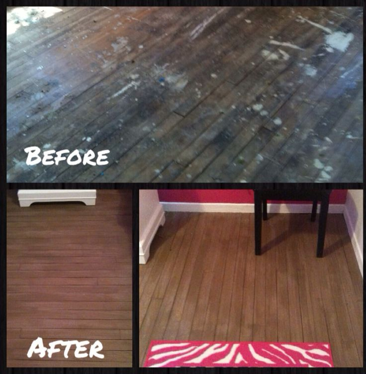 Painted wood floors before after painted floors for Before and after flooring