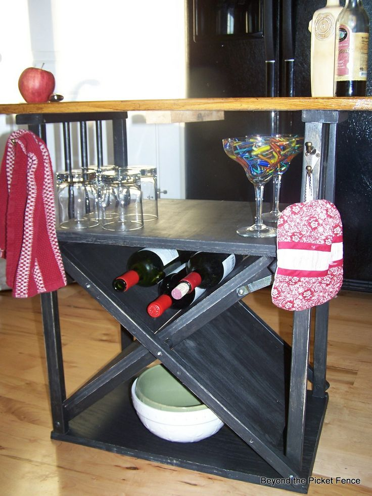 repurposed chair, kitchen island, paint, wine rack, Beyond The Picket Fence, http://bec4-beyondthepicketfence.blogspot.com/2013/08/shutter-island.html