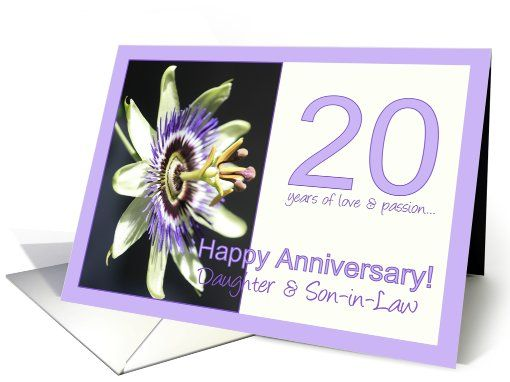 20th Anniversary For Daughter Son In Law Passion Flower Card