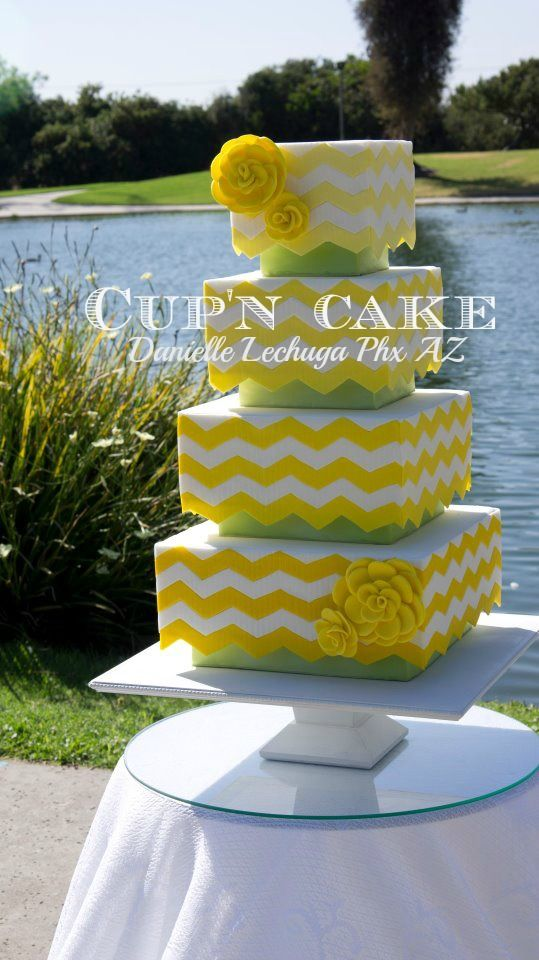 Yellow and green chevron featured in Cake central magazine. Designed and created by Danielle Lechuga, serving the Phoenix area.