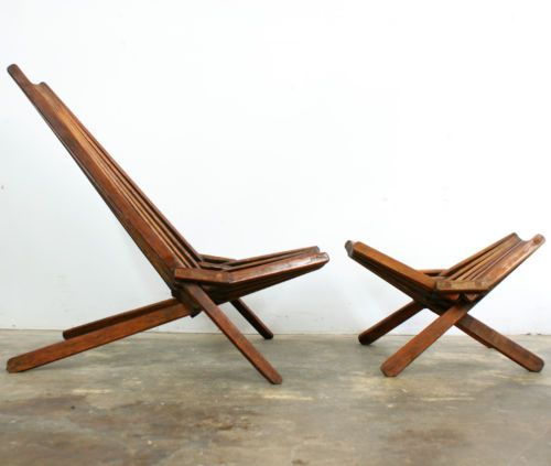 Mid Century Modern Teak Lounge Chair & Rare Ottoman Patio ...
