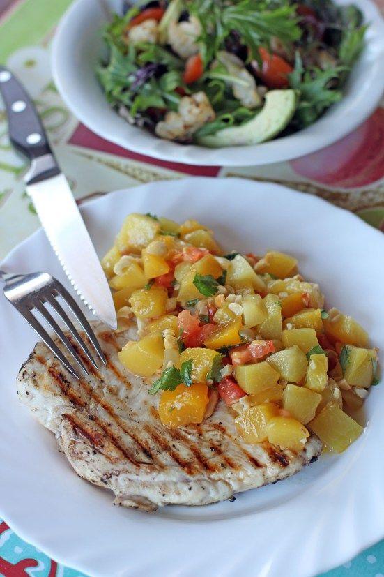 Grilled Chicken and Peach Mango Salsa | chicken, duck, turkey | Pinte ...
