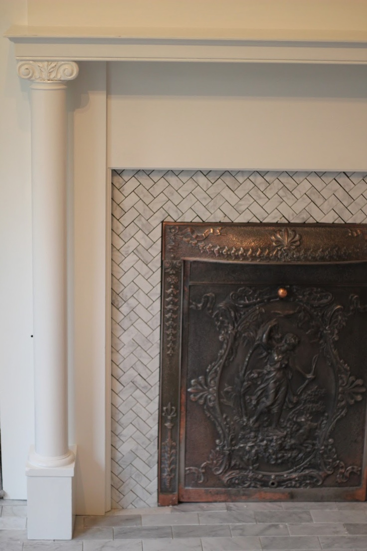 Love The Herringbone Marble Tile Fireplace Pinterest