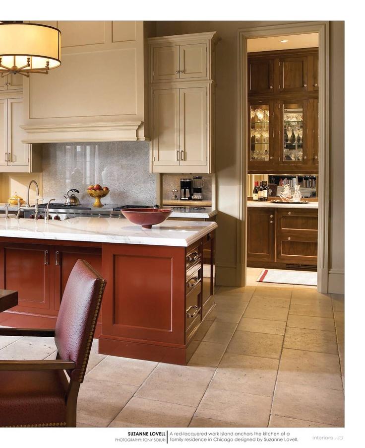 cream kitchen with burgundy island  Kitchen  Pinterest