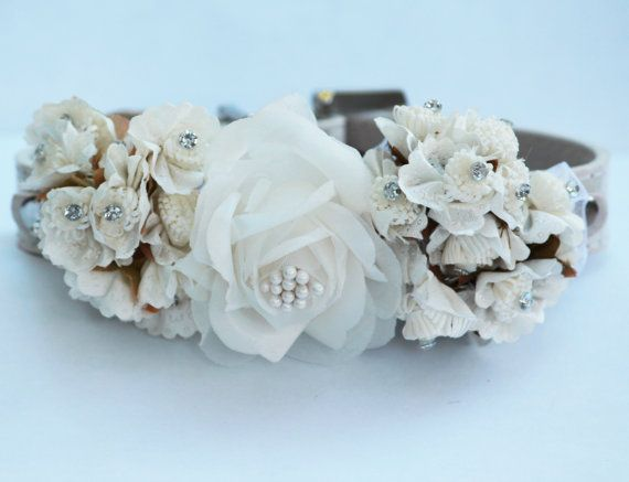 white wedding dog collars with white flowers high quality floral dog
