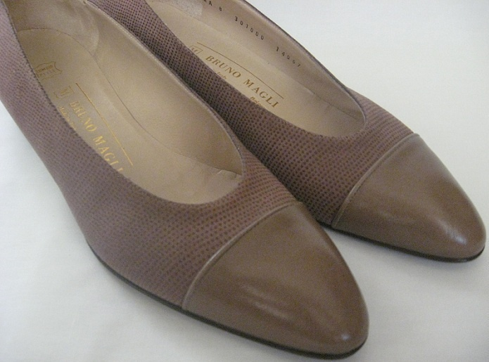 BRUNO MAGLI Womens Shoes Pumps Flats Sz 8 Brown Low Heel New Italy $19