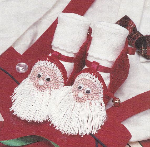 Crochet Baby Santa Booties Pattern : Holiday Baby Booties Crochet Patterns - Christmas Santa ...
