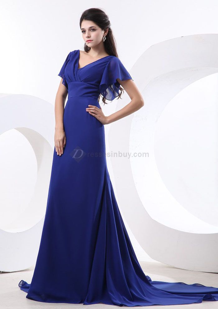 Royal blue bridesmaid dress with sleeves bridesmaid for Blue wedding dress with sleeves