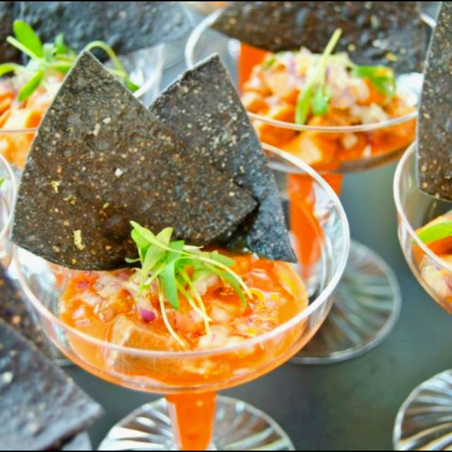 Ahi tuna Ceviche w/ micro cilantro and blue chips. I made these for a ...