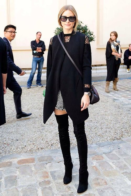 Olivia palermo wearing thigh high boots and shorts