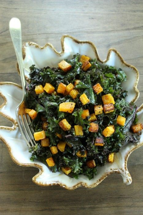 massaged kale salad with roasted butternut and pumpkin cider ...