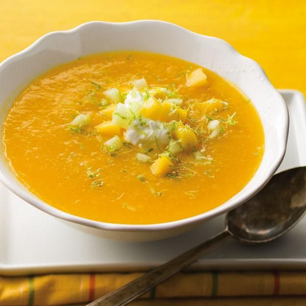 mango coconut soup with mango relish chilled mango and cucumber soup ...