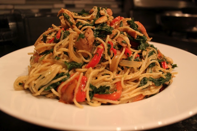Angel Hair Pasta with Alfredo Sauce with loads of Spinach, Red Bell ...