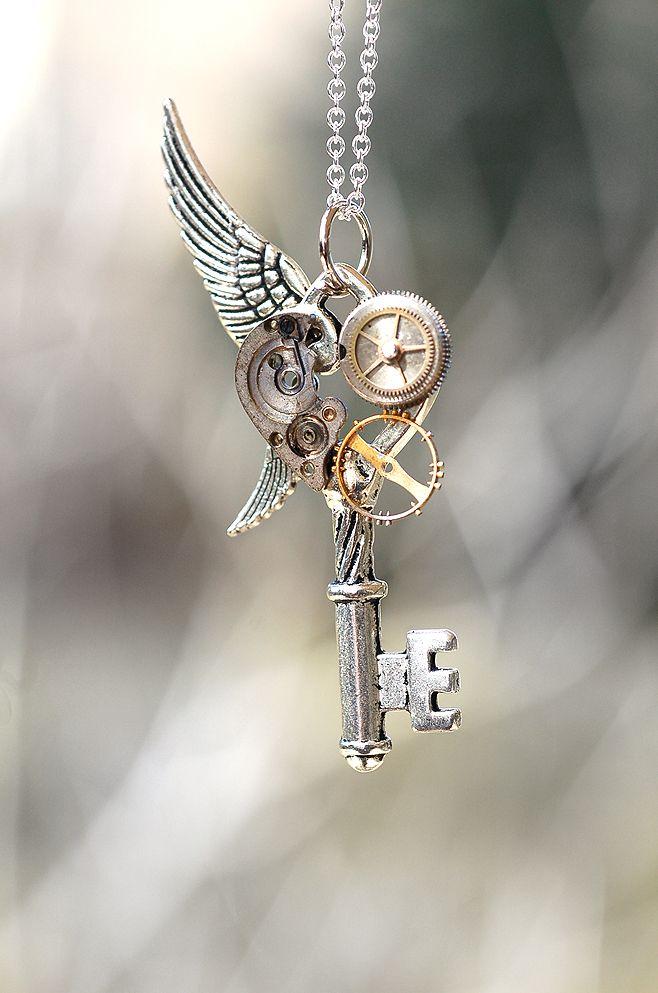 Handmade Steampunk Key Necklace - Pendants