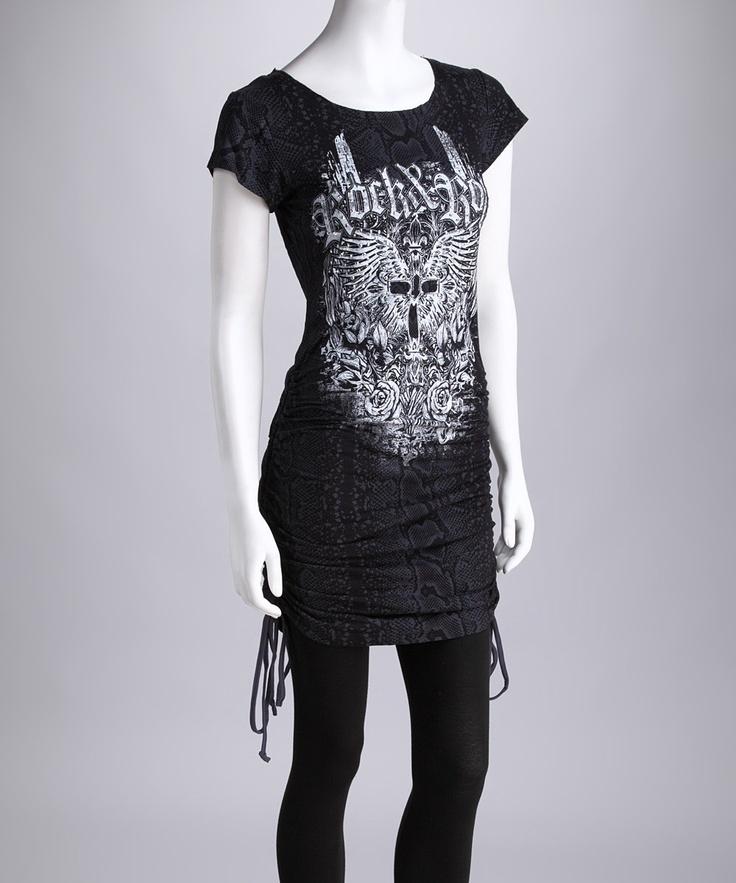 Black Knit Tie Tunic - Women