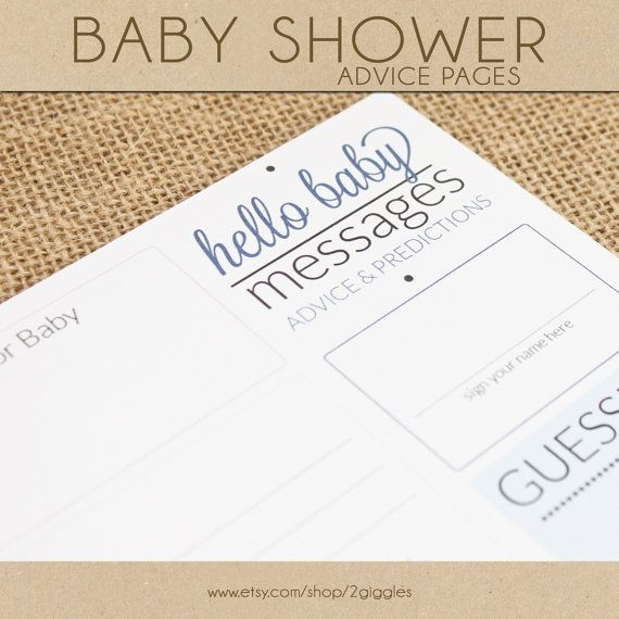 baby shower advice pages blue by 2giggles on etsy