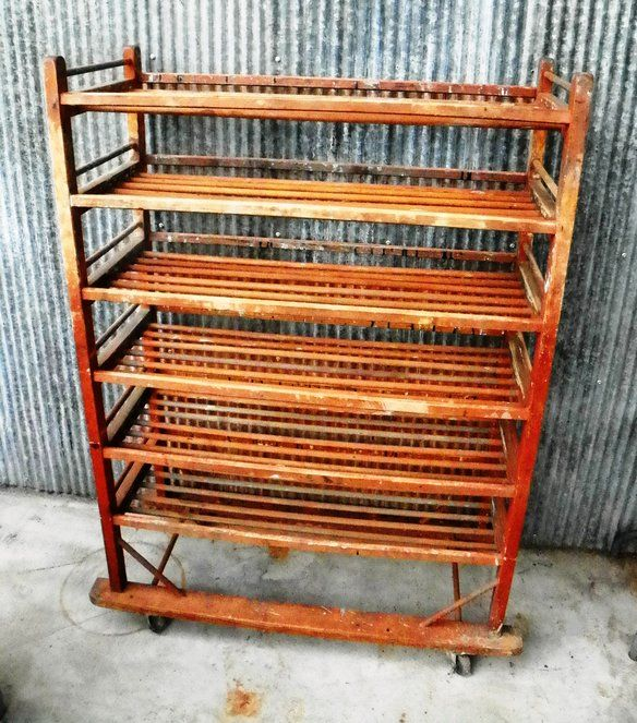 Industrial vintage factory bakers rack wine rack in oakland chicago