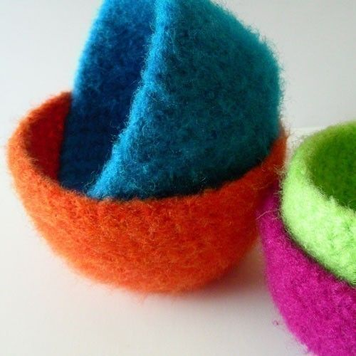 Felted Crochet : Felted Nesting Bowls - Crochet Pattern (PDF) - INSTANT DOWNLOAD