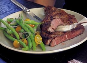 Rib Steaks with Spice Rub and Green Bean Salad