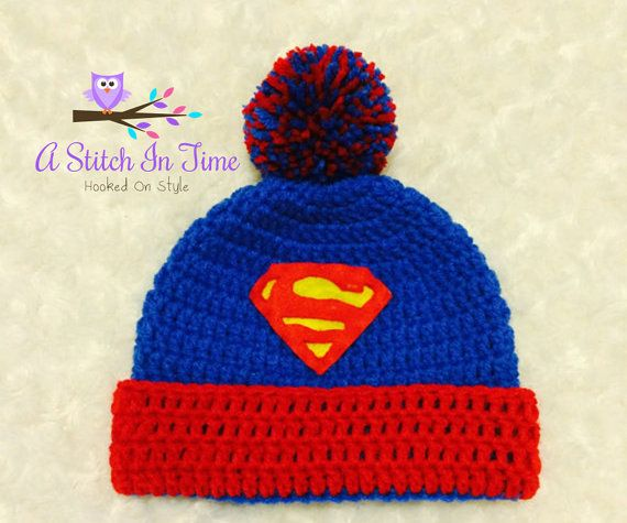 Superman Crochet Beanie/Hat with Trim and Pompom PDF ...