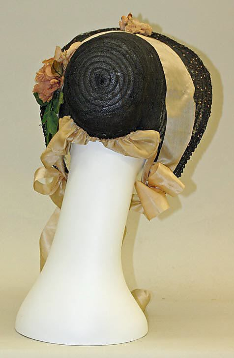 1863 ... Bonnet ... silk, & horsehair ... American ... at The Metropolitan Museum of Art ... photo 3