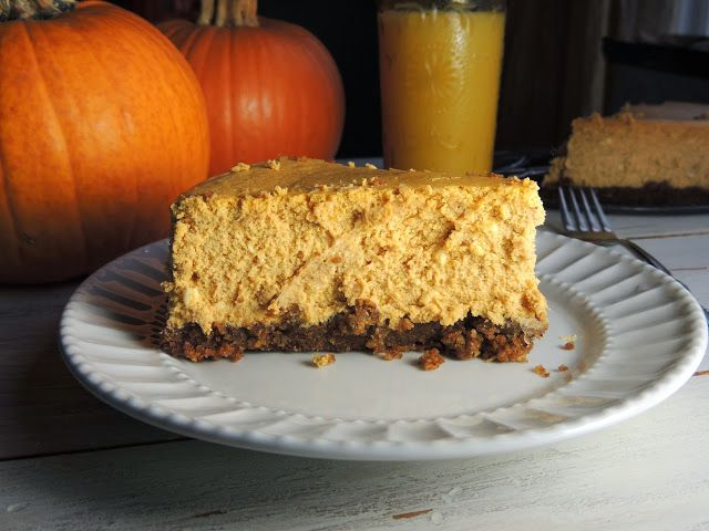 Pumpkin Cheesecake with a Pecan Gingersnap Crust #thanksgiving # ...