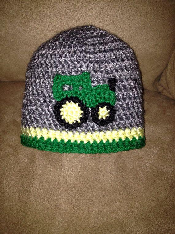 Deere Infant Hat Crochet Pattern : Tractor crochet hat, John Deere hat, Beanie hat with tractor