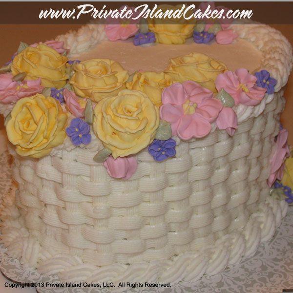 How To Basket Weave Buttercream : Basket weave and buttercream flower cake