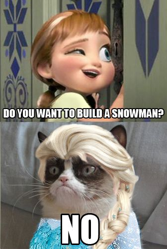 Frozen, Disney Frozen, Disney Frozen Grumpy Cat, Grumpy Cat build snowman, Grumpy Cat