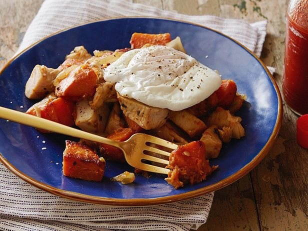 Poached Eggs with Herb-Roasted Turkey Breast and Sweet Potato Hash ...