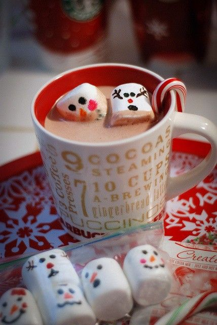 Christmas hot chocolate with snowman marshmallows