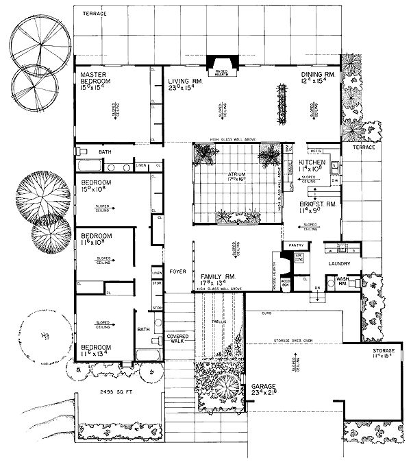 Contemporary retro house plan 95111 Eichler atrium floor plan