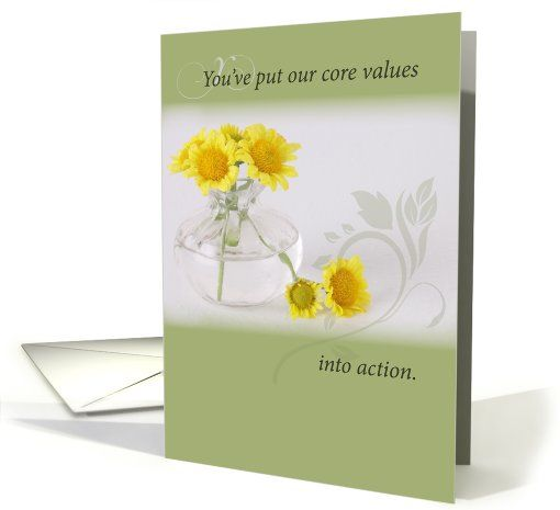 Employee Recognition, Core Values, Yellow Flowers card