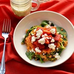 Warm Lentil Salad with Goat Cheese and Roasted Red Peppers