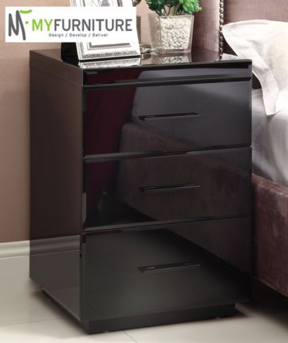 RIO Mirrored BLACK GLASS Bedside Table Chest 3 Drawer