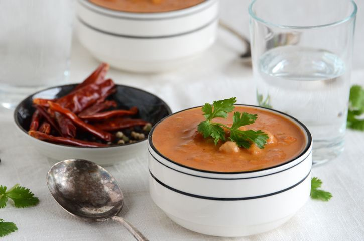 Indian-Spiced Cream of Tomato Soup with Whole Wheat Couscous from An ...